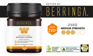 BERRINGA MANUKA HONEY - MEDIUM STRENGTH 220 MGO 250G