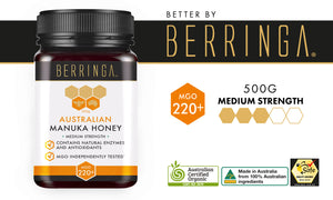 BERRINGA MANUKA HONEY - MEDIUM STRENGTH 220 MGO 500G