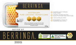 BERRINGA MANUKA HONEY - AUSTRALIAN PURE ORGANIC HONEYCOMB 200G