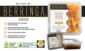 BERRINGA MANUKA HONEY - AUSTRALIAN PURE ORGANIC HONEYCOMB 400GM