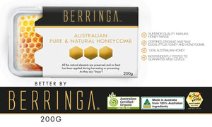 BERRINGA MANUKA HONEY - AUSTRALIAN PURE NATURAL HONEYCOMB 200G