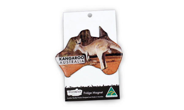 Australian Made Dome Magnets Tagged RooWho Australian Map - Australia map kangaroo