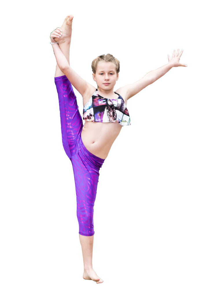 Legging for Girls YogaBerries Grape Tigress