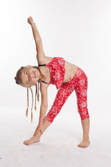 Leggings for Girls Sparkly Red Bandana. YogaBerries Capri Activewear - Yoga Leggings