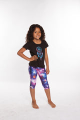 Pants Girls nylon capri legging for girls elastic waist