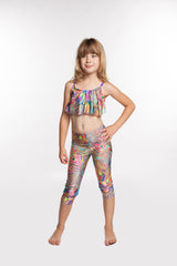 Paint Swirl Pants Girls spandex capri yoga legging - Leggings for Girls
