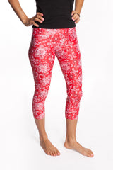 Women's Workout Yoga Leggings YogaBerries Sparkly Red Bandana Capri Multisport Tights