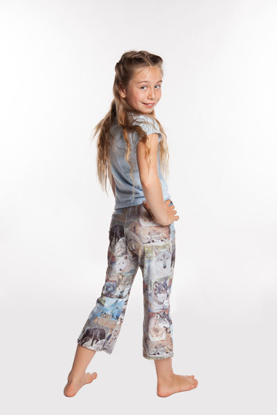 Yoga Pants For Girls Wolf Face Collage Leggings For