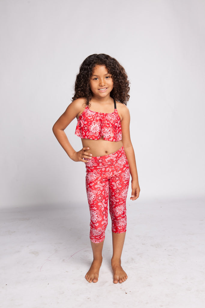 Girls Leggings Sparkly Red Bandana. YogaBerries Capri Activewear
