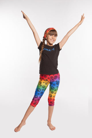 Leggings Girls spandex capri in Rainbow Peace print