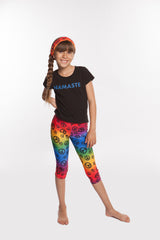 Leggings for Girls - SpandexCcapri in Rainbow Peace print - Yoga Pants
