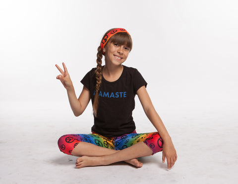 Rainbow Peace sign Headband and Sweatband - Yoga