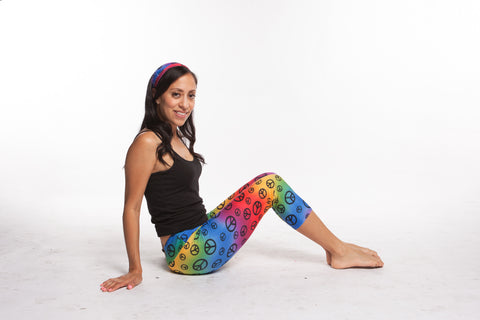 Yoga Pants Women Rainbow Peace Print spandex nylon capri legging - Legging for Girls