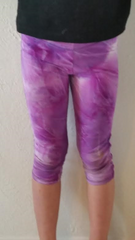 Purple Tie Dye Leggings for Girls spandex capri legging  - Yoga Pants