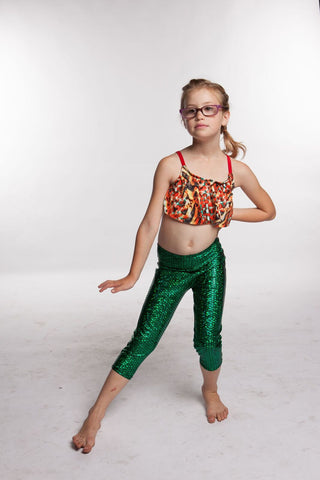 Mermaid Girls Leggings Ocean Shimmer Fabric for the Mermaid Lover - Mermaid Leggings for girls