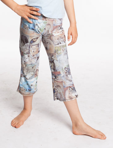 Workout Yoga Pants Wolf Face Collage Women's Flare