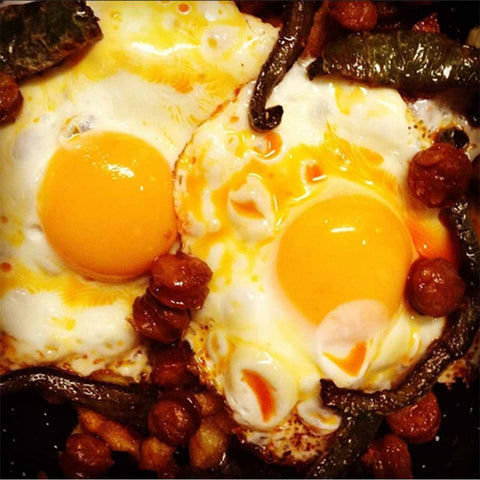 Huevos rotos (eggs) with Chorizo Ibérico... Typical Spanish