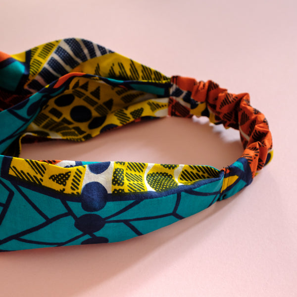 African wax print クロスヘアバンド アフリカンプリント