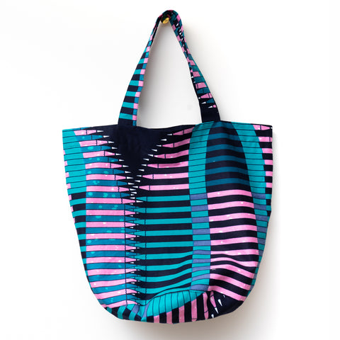 Pencil African Wax Print Rounded Tote