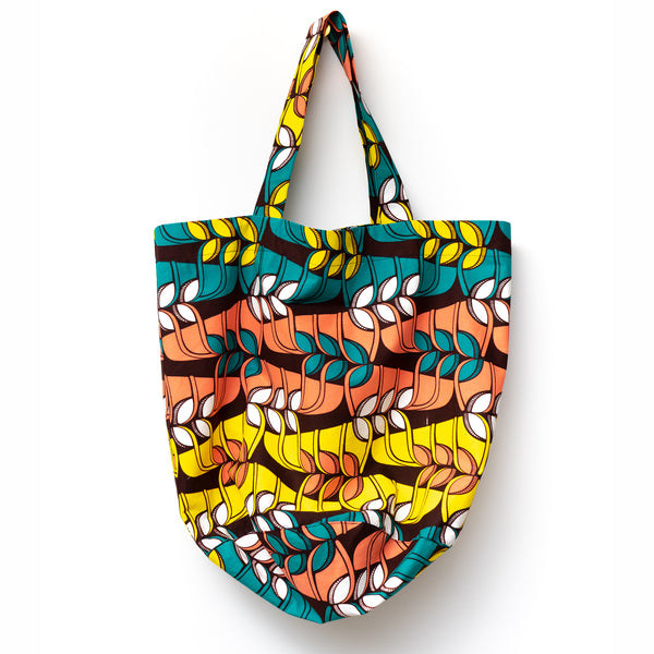 Jungle Song African Wax Print Rounded Tote