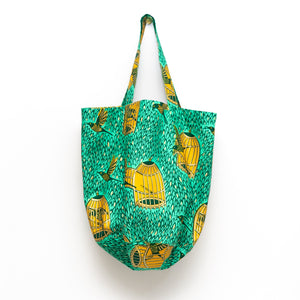 Spring Bird African Wax Print Rounded Tote