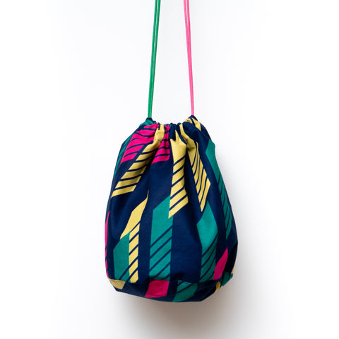 Line African Wax Print Bucket Bag