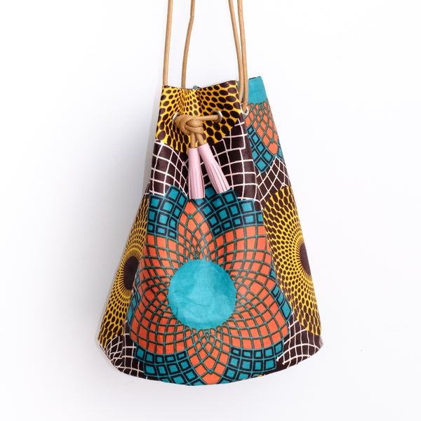 African Wax Bucket Bag Spirograph