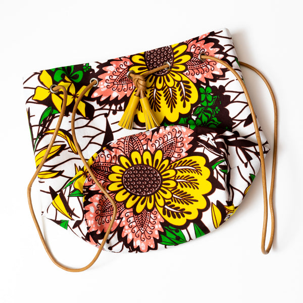 Flower Garden Wax Print Bucket Bag