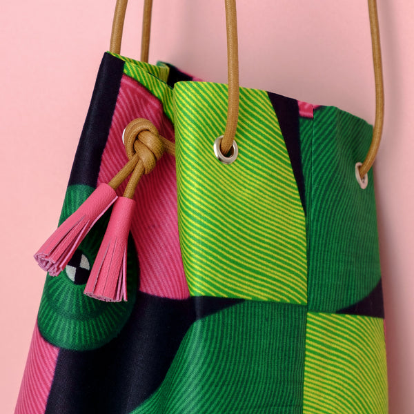 African Wax Bucket Bag