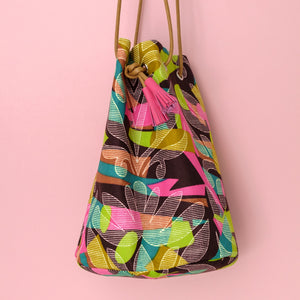 African Wax Bucket Bag Colour Etching