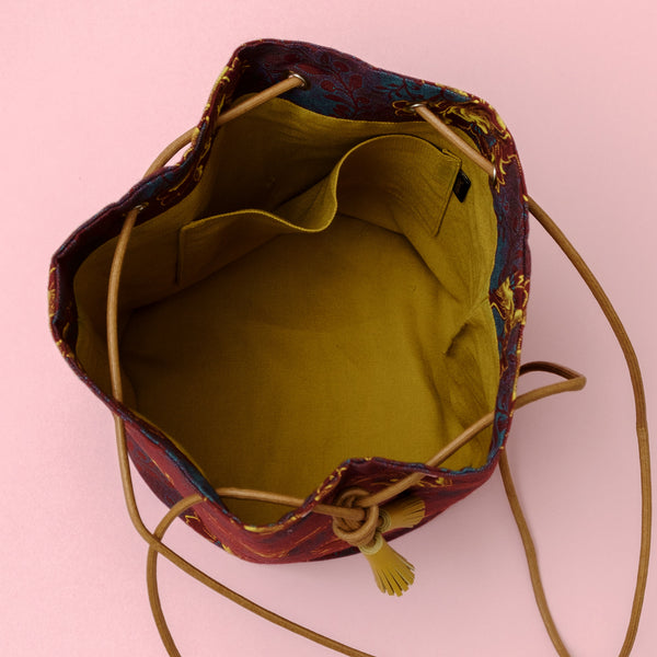 Burgundy Flower Shweshwe Bucket Bag
