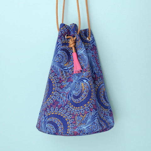 African Shweshwe Bucket Bag Blue Paisley