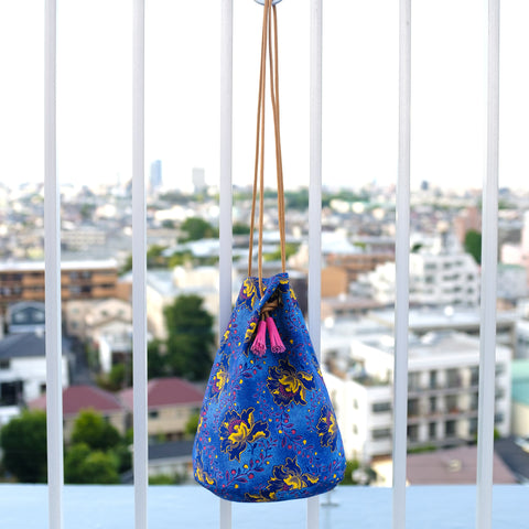 African Shweshwe Bucket Bag Blue Flower