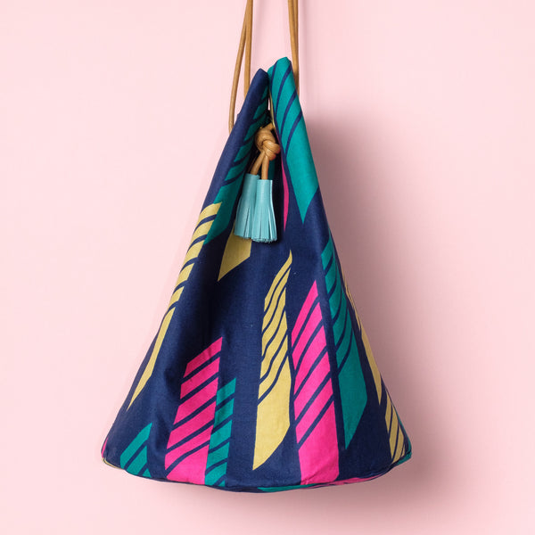 Line Wax Print Bucket Bag
