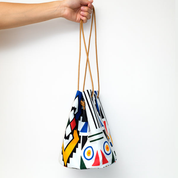 Ndebele Plus Wax Print Bucket Bag