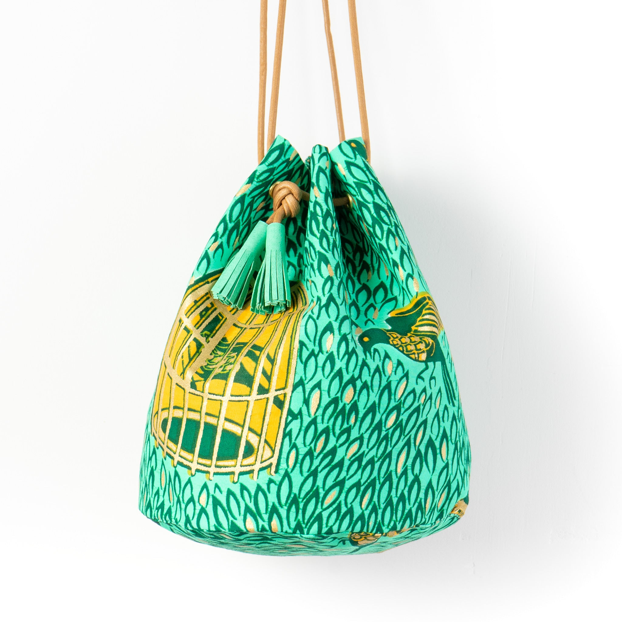 Spring Bird Dutch Wax Bucket Bag