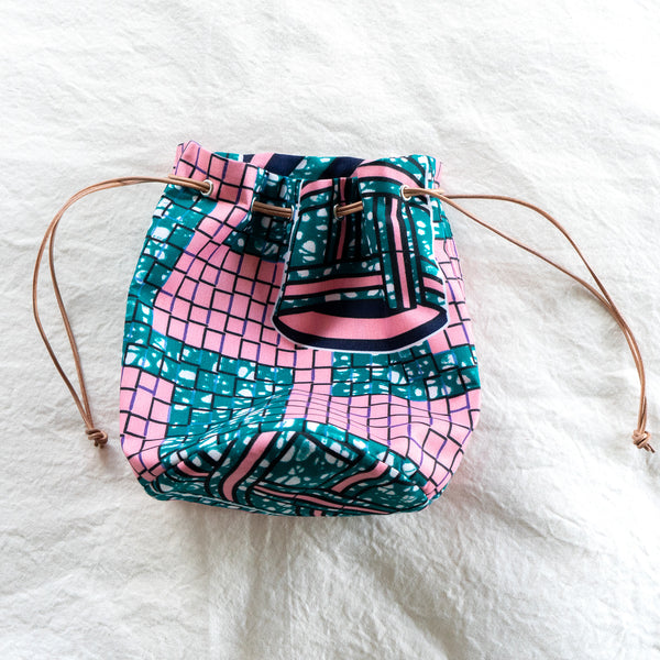 Hotel pool African Wax Print Bucket Bag
