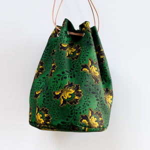 Shweshwe Green Flower Bucket Bag