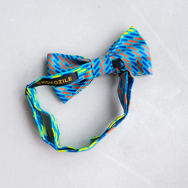 African polyester wax print bow tie