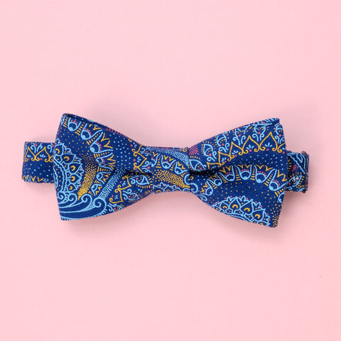 Blue Paisely Shweshwe Bow Tie