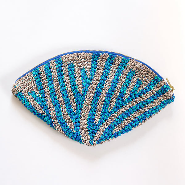 Crochet Hemp Feather Clutch L.Blue x Blue