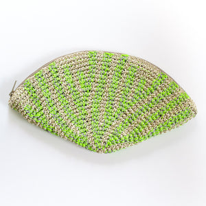 Crochet Hemp Feather Clutch Neon Yellow x Gray