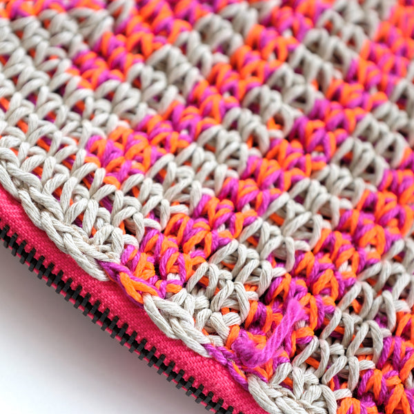 Crochet Hemp Feather Clutch Neon Orange x Purple