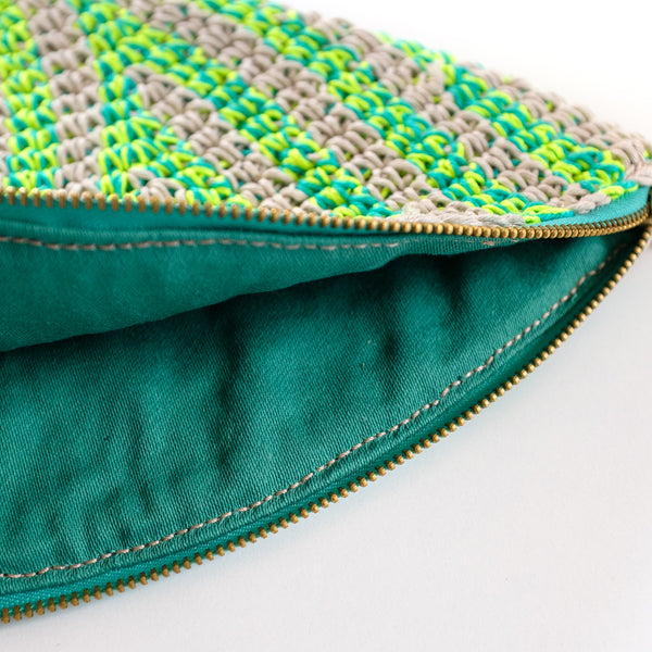 Crochet Hemp Feather Clutch Neon Yellow x Blue