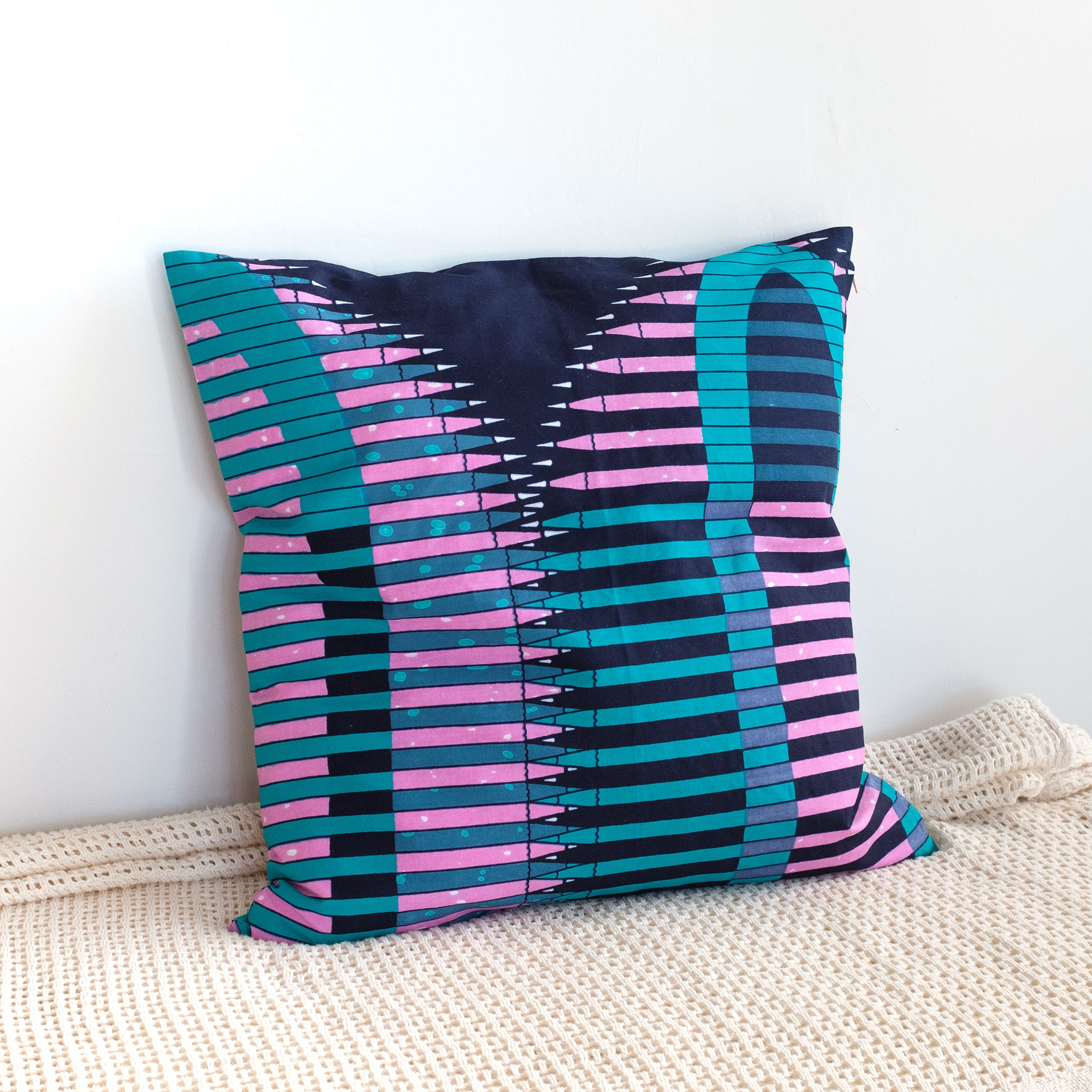 Pencil Wax Print Cushion Cover