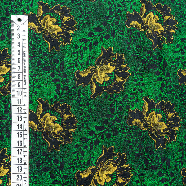 Shweshwe Fabric Black Flower