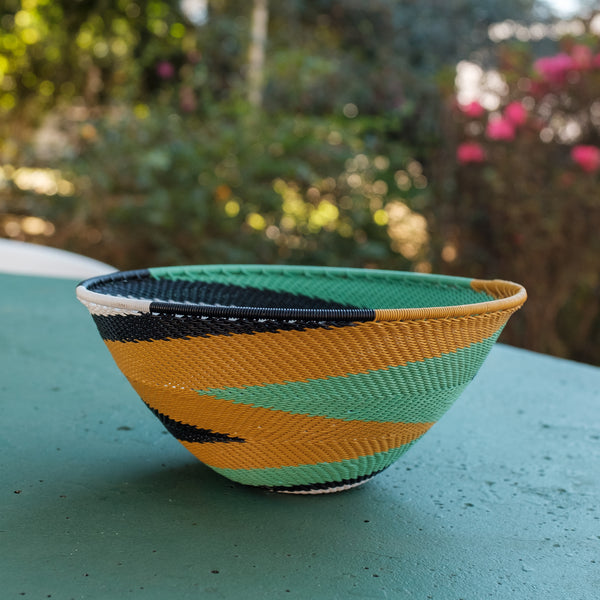 Green and Mustard Swirl Basket