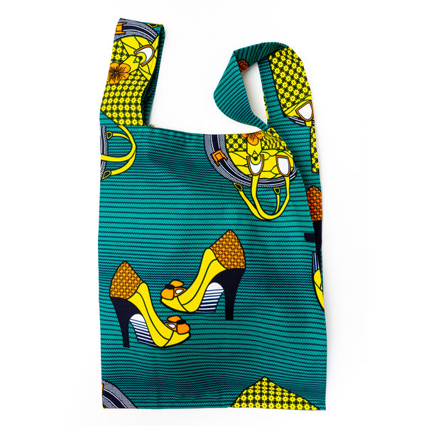 Boutique African Wax Pocketable Shopping Bag
