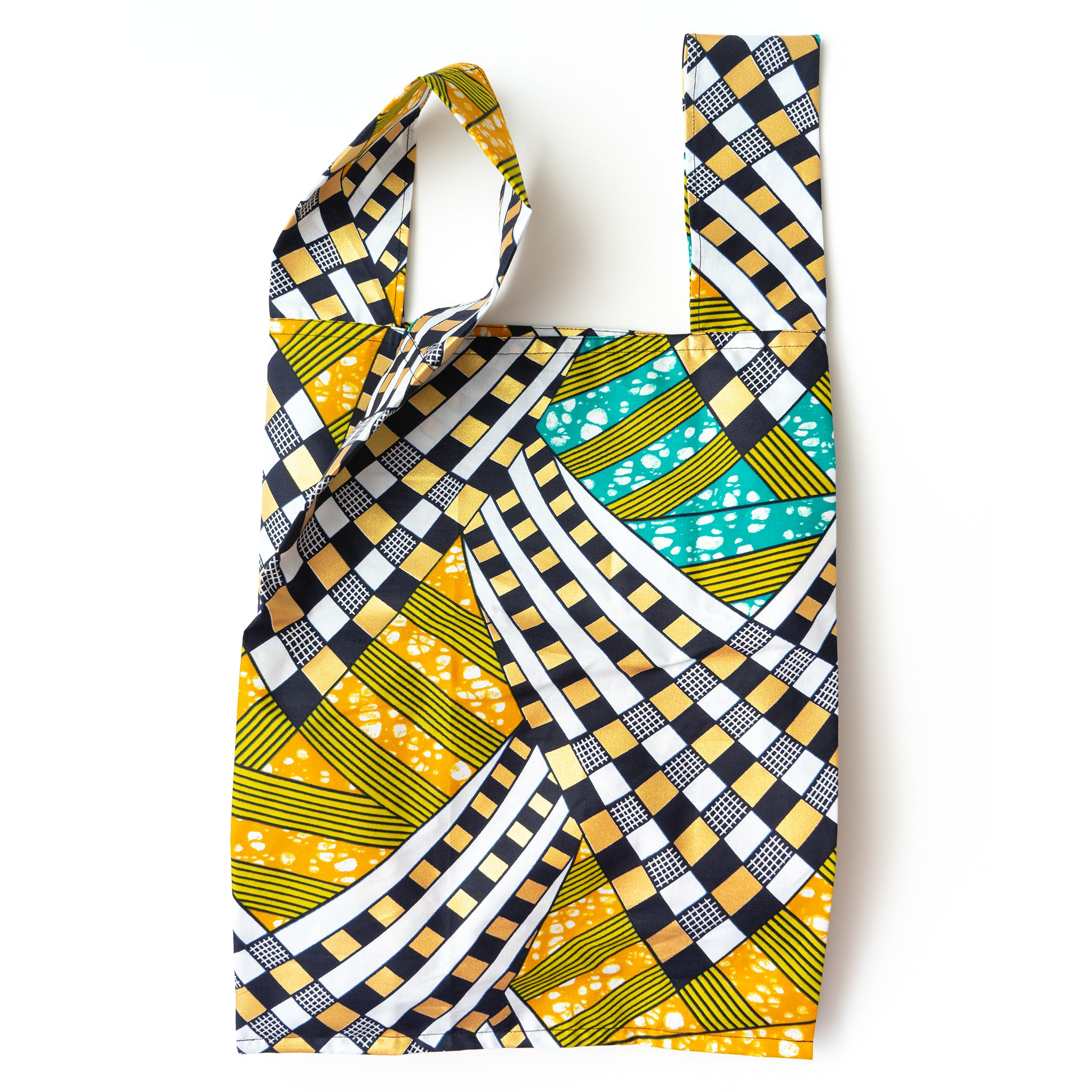 Cape Town 1978 African Wax Print Pocketable Shopping Bag