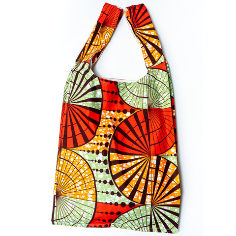 African Awaodori Wax Print Pocketable Shopping Bag